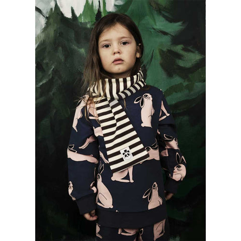 Girl Wearing Mini Rodini AW16 Brown Ribbed Striped Organic Cotton Scarf