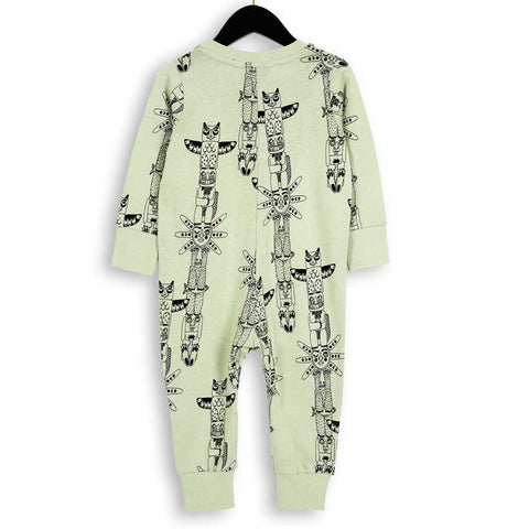 Mini Rodini AW16 Pale Green Totem Baby Sweat Romper - Back View