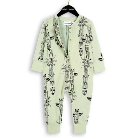 Mini Rodini Pale Green Totem Baby Sweat Organic Romper