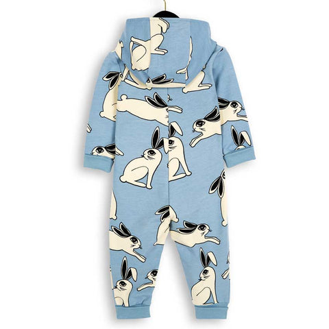 Mini Rodini Light Blue Rabbit Organic Onesie Romper - Back View