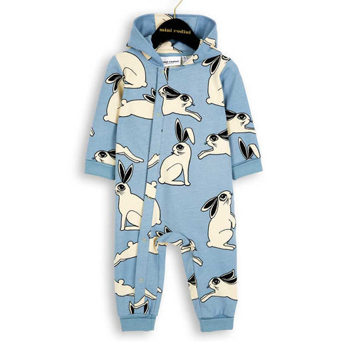 Mini Rodini AW16 Light Blue Rabbit Onesie Organic Romper