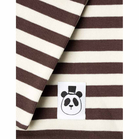 Mini Rodini AW16 Brown Ribbed Striped Organic Cotton Scarf Detail