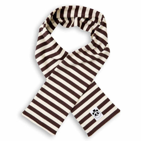 Mini Rodini AW16 Brown Ribbed Striped Organic Cotton Scarf