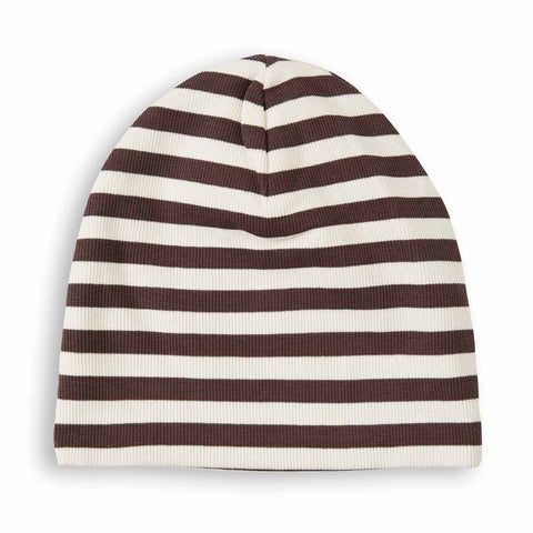 Mini Rodini AW16 Brown Ribbed Stripe Beanie at Yellow Lolly