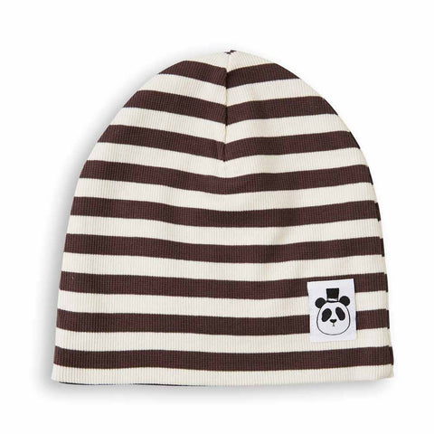 Mini Rodini AW16 Brown Ribbed Stripe Orgnaic Beanie