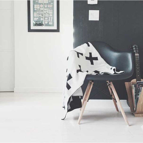 Modern Burlap Monochrome Reversible Cross Blanket in monochrome interior