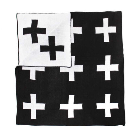 Modern Burlap Monochrome Reversible Cross Blanket - Yellow Lolly