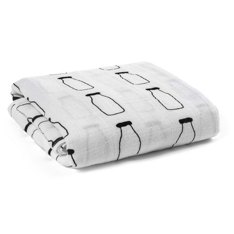 Modern Burlap Black & White Milk Baby Swaddle from Yellow Lolly