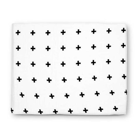 Modern Burlap Black & White Swiss Cross Printed Organic Cotton Baby Swaddle