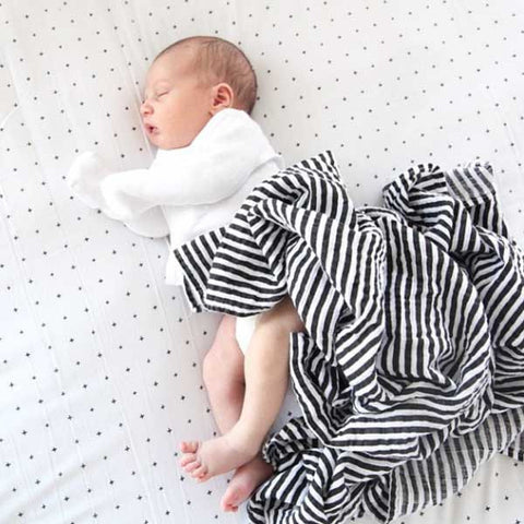 Modern Burlap black and white striped, large organic cotton, baby muslin - with sleeping baby