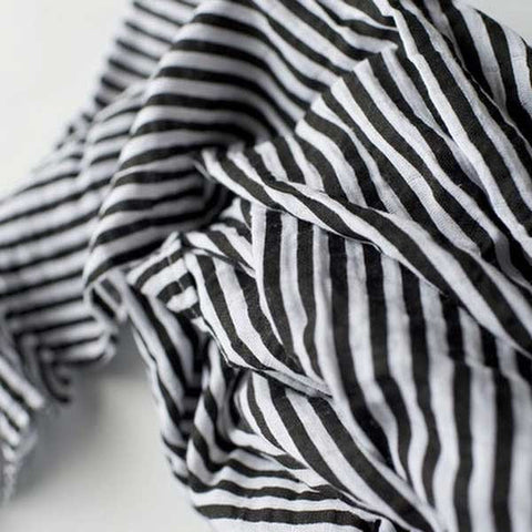 Modern Burlap black and white striped, large organic cotton, baby muslin - shown folded