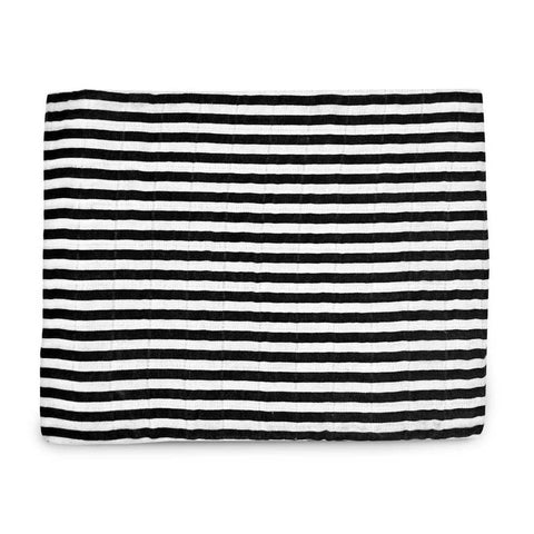 Modern Burlap black and white striped, large organic cotton, baby muslin.