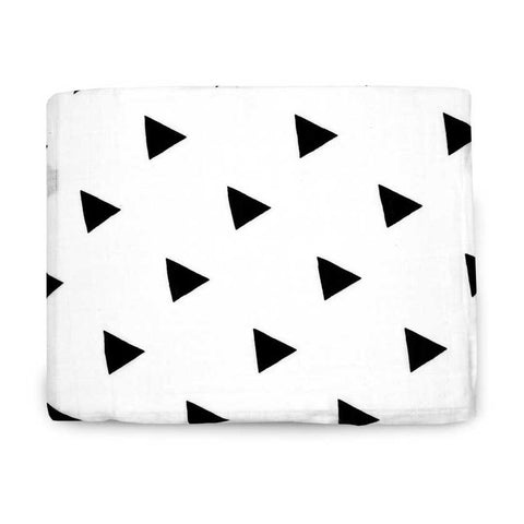 Modern Burlap black and white, large organic cotton, triangle print baby muslin.
