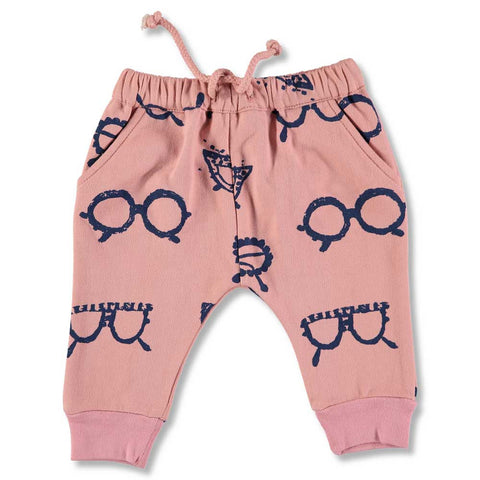 Nadadelazos Dusky Pink Glasses Baggy Sweat Pants in Organic Cotton
