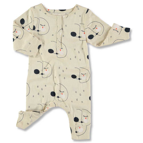 Nadadelazos AW16 off White Night Mask Baby Romper in Organic Cotton