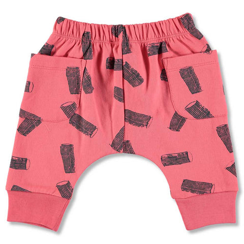 Nadadelazos Red Rigatoni Baggy Sweat Organic Cotton Baby Pants