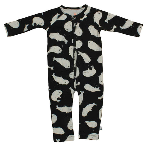 Noé & Zoë AW16 Black Whales Organic Cotton Baby Romper at Yellow Lolly