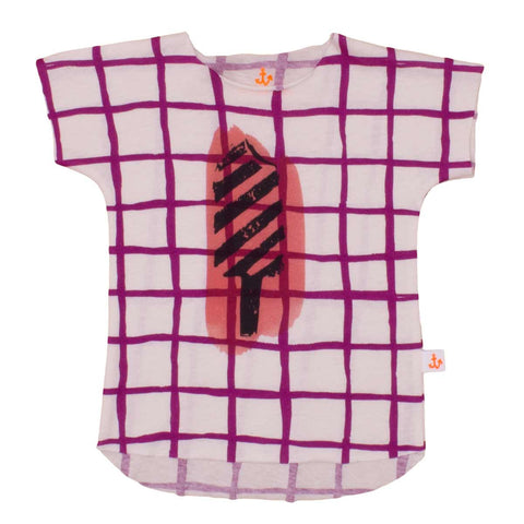 Noé & Zoë Purple Grid Ice Cream  Child's T Shirt at Yellow Lolly