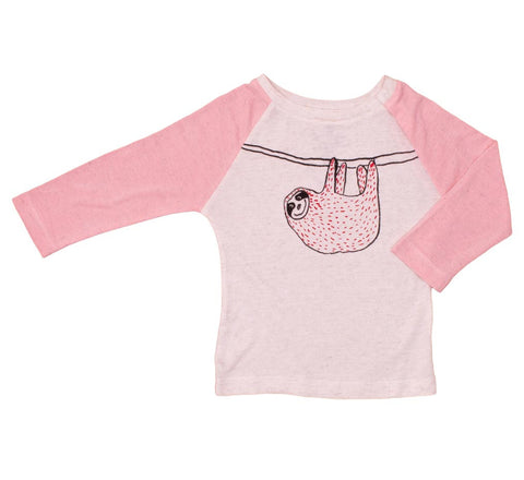 Noé and Zoë Pink Hanging Sloth Raglan Long Sleeve T-Shirt - Baby - Yellow Lolly