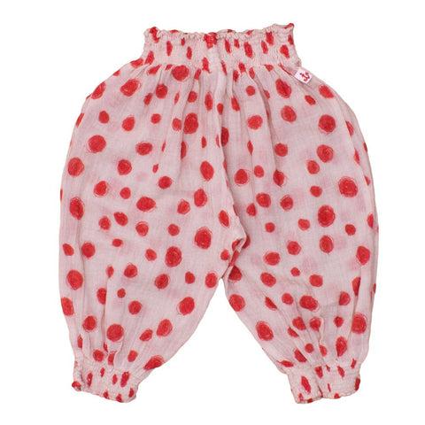 Noé and Zoë Red Circles Boho Baby Pants - Yellow Lolly