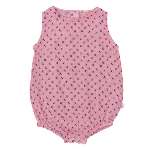 Noé and Zoë Pink Puffy Baby Romper - Yellow Lolly