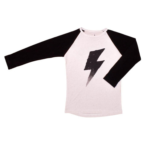 Noé and Zoë Black Flash Raglan Long Sleeve T-Shirt - Yellow Lolly