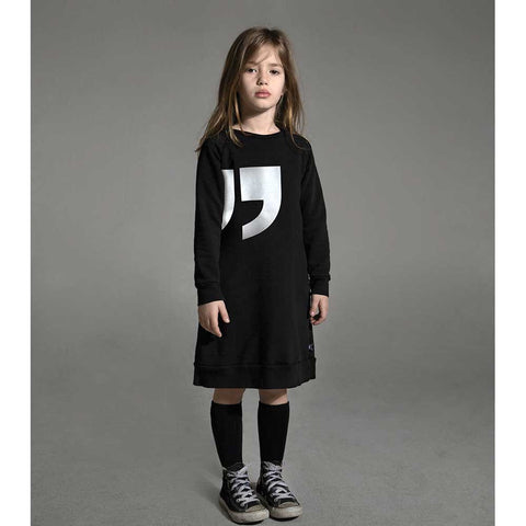 Girl Wearing Nununu AW16 Black quotation sweat dress