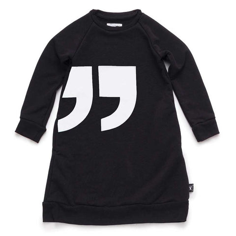Nununu Black Quotation Mark Sweat Dress at Yellow Lolly