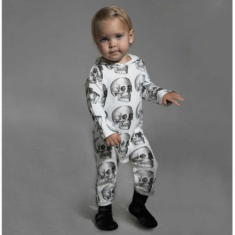 Baby Wearing Nununu White Skulls Hooded Romper