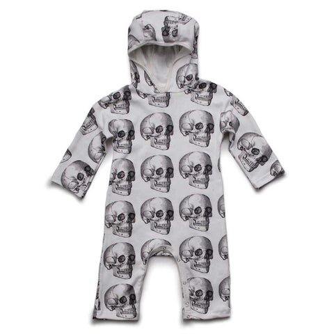 Nununu AW16 White Skulls Hooded Baby Romper at Yellow Lolly