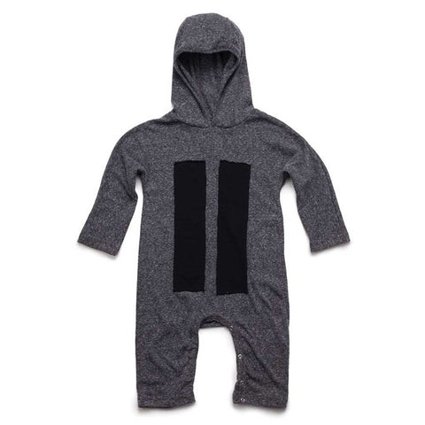 Nununu AW16 Charcoal Patch Hoodie Baby Romper