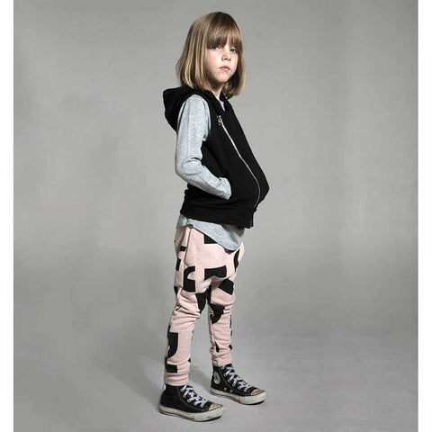 Girl Wearing Nununu Punctuation Pink Baggy Pants