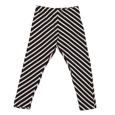 Papu Black and Cream Diagonal Stripe Leggings at Yellow Lolly