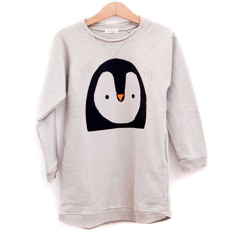 Picnik Barcelona Cream Penguin Sweat Dress - Yellow Lolly