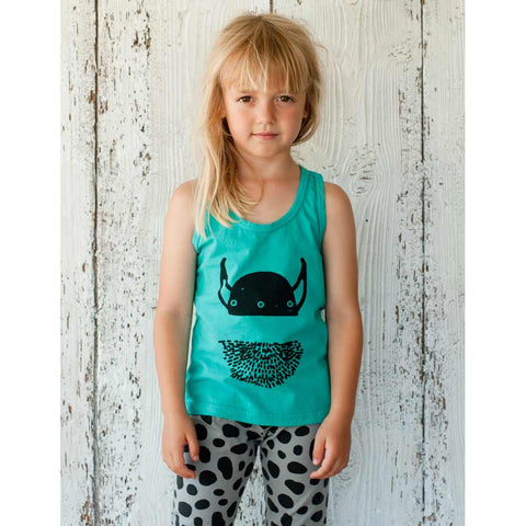 Girl wearing Picnik Barcelona Green Viking Vest Top - Yellow Lolly