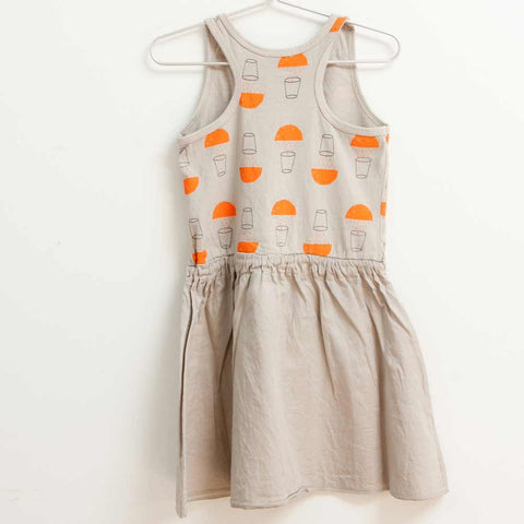Back of Picnik Barcelona Grey Juice Print Dress - Yellow Lolly