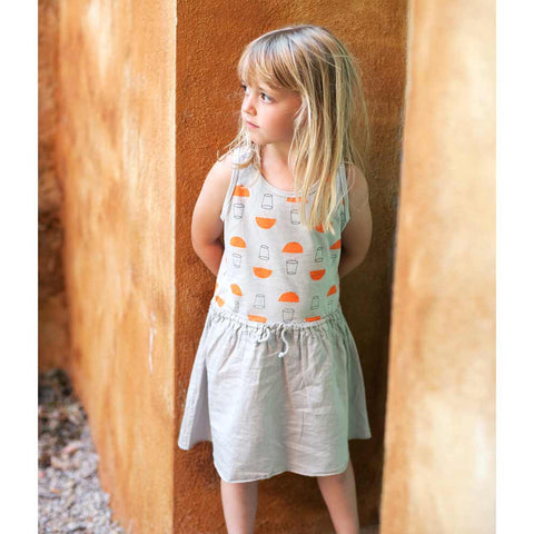 Girl wearing Picnik Barcelona Grey Juice Print Dress - Yellow Lolly