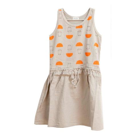 Picnik Barcelona Grey Juice Print Dress - Yellow Lolly