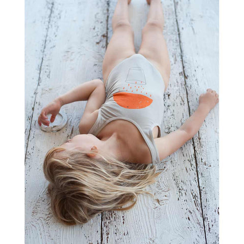 Girl wearing Picnik Barcelona Orange Juice Swimsuit - Yellow Lolly