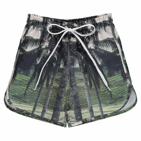 Popupshop Palm Print Long Kid's Swim Shorts at Yellow Lolly