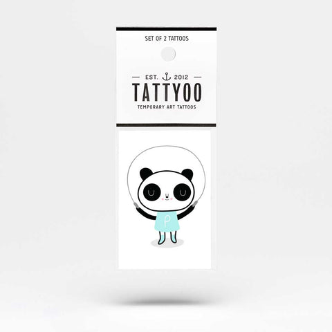 Tattyoo Panda Girl Temporary Kid's Tattoos - Packet Image