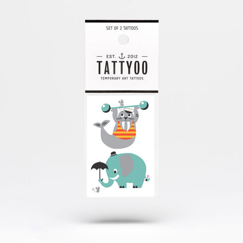 Tattyoo Walrus & Elephant Temporary Kids Tattoo in Packet