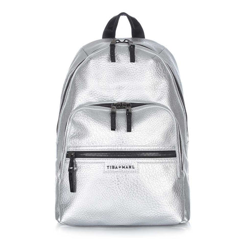 Tiba + Marl - Silver Elwood Baby Backpack Front - Yellow Lolly