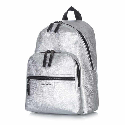 Tiba + Marl - Silver Elwood Baby Backpack Side View- Yellow Lolly