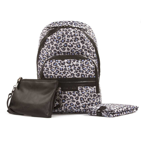 Tiba + Marl Leopard Elwood Baby Change Backpack from Yellow Lolly with change mat