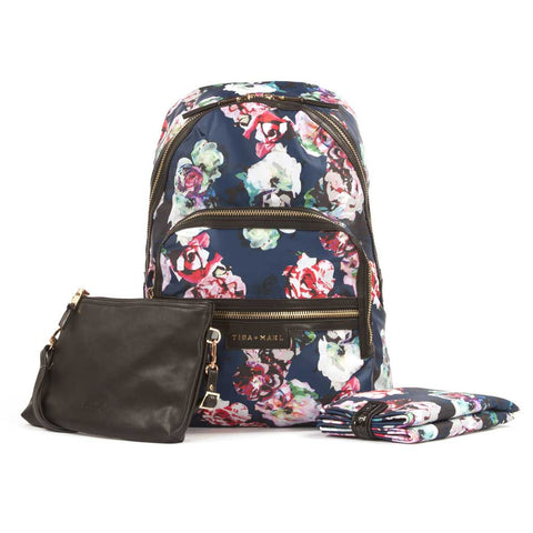Tiba + Marl Floral Elwood Baby Change Backpack with change mat and pouch