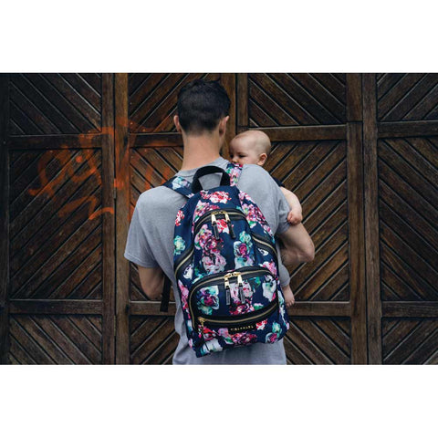 Father and baby with Tiba + Marl Floral Elwood Baby Change Backpack from Yellow Lolly