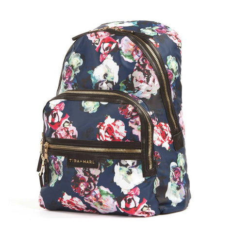 Side view of Yellow Lolly's Tiba + Marl Floral Elwood Baby Change Backpack