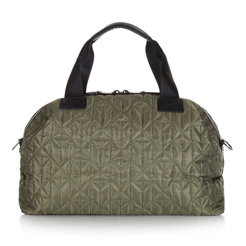 Back of Tiba + Marl Khaki Mini Raf Holdall Baby Change Bag - Yellow Lolly