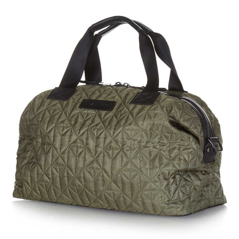 Side view of Tiba + Marl Khaki Mini Raf Holdall Baby Change Bag - Yellow Lolly
